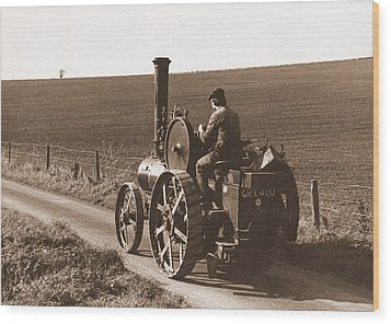Steam Tractor Wood Print
