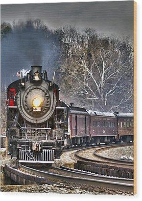 Steam Train Wood Print by Alan Raasch