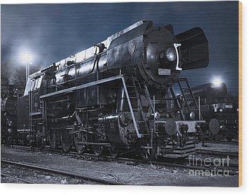 Steam Train In The Night II. Wood Print by Martin Dzurjanik