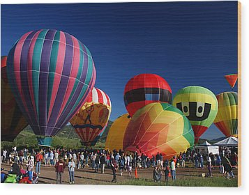 Steamboat Balloon Rising  Wood Print by Michael J Bauer