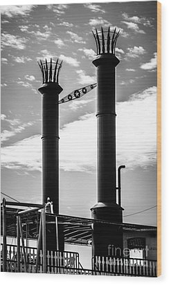 Steamboat Smokestacks Black And White Picture Wood Print by Paul Velgos