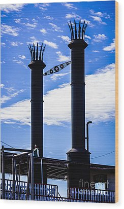 Steamboat Smokestacks On The Natchez Steam Boat Wood Print by Paul Velgos