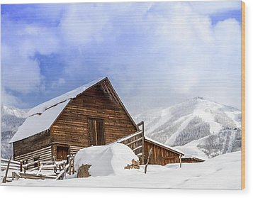Steamboat Springs Barn And Ski Area Wood Print