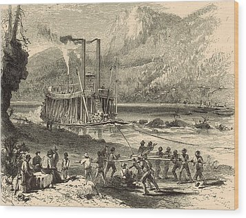 Steamer On The Tennessee Warped Through The Suck - 1872 Engraving Wood Print by Antique Engravings