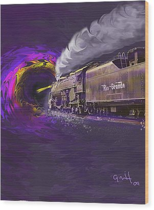 Steaming Into The Black Hole Of History Wood Print by J Griff Griffin