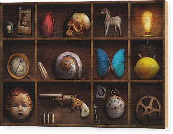 Steampunk - A Box Of Curiosities Wood Print by Mike Savad