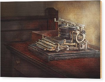 Steampunk - A Crusty Old Typewriter Wood Print by Mike Savad