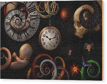 Steampunk - Abstract - The Beginning And End Wood Print by Mike Savad