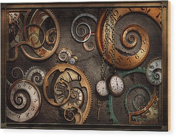Steampunk - Abstract - Time Is Complicated Wood Print by Mike Savad