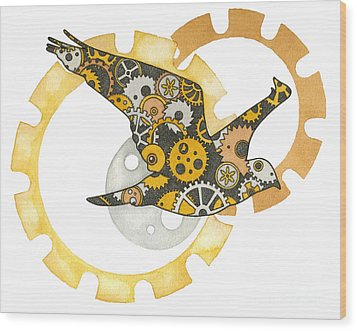 Steampunk Bird Wood Print by Nora Blansett