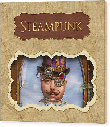 Steampunk Button Wood Print by Mike Savad