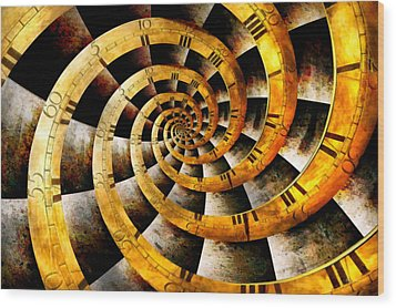 Steampunk - Clock - The Flow Of Time Wood Print by Mike Savad