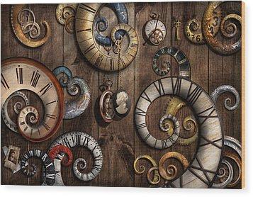 Steampunk - Clock - Time Machine Wood Print by Mike Savad