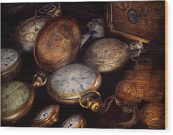 Steampunk - Clock - Time Worn Wood Print by Mike Savad