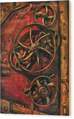 Steampunk - Clockwork Wood Print by Mike Savad