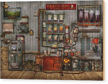 Steampunk - Coffee - The Company Coffee Maker Wood Print by Mike Savad