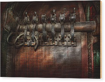 Steampunk - Electrical - Motorized  Wood Print by Mike Savad