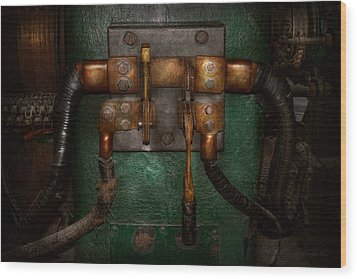 Steampunk - Electrical - Pull The Switch  Wood Print by Mike Savad