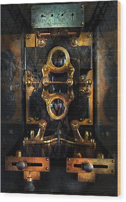 Steampunk - Electrical - The Power Meter Wood Print by Mike Savad