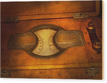 Steampunk - Electrician - The Portable Volt Meter Wood Print by Mike Savad