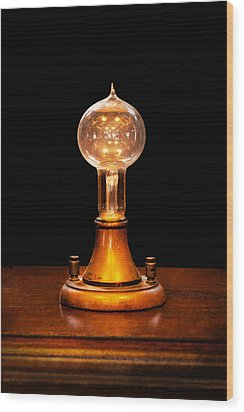 Steampunk - Electricity - Bright Ideas  Wood Print by Mike Savad