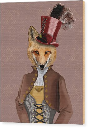 Steampunk Fox Vivienne Fox Wood Print by Kelly McLaughlan