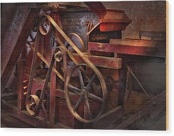Steampunk - Gear - Belts And Wheels  Wood Print by Mike Savad