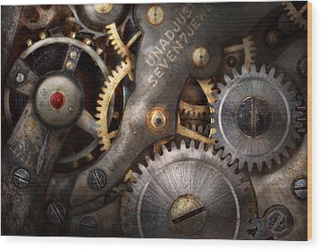 Steampunk - Gears - Horology Wood Print by Mike Savad