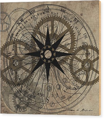 Wood Print featuring the painting Steampunk Gold Gears II  by James Christopher Hill