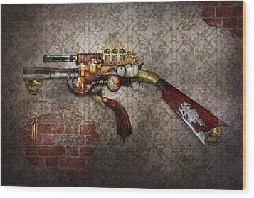 Steampunk - Gun - The Sidearm Wood Print by Mike Savad