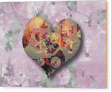 Steampunk Heart Wood Print by The Art of Marsha Charlebois