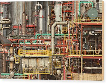 Steampunk - Industrial Illusion Wood Print by Mike Savad