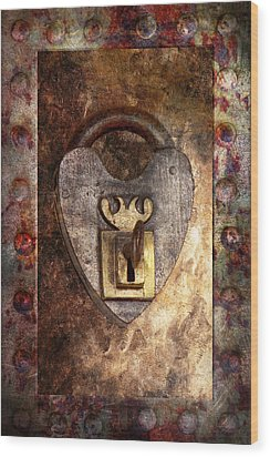Steampunk - Locksmith - The Key To My Heart Wood Print by Mike Savad