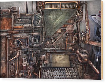 Steampunk - Machine - All The Bells And Whistles  Wood Print by Mike Savad