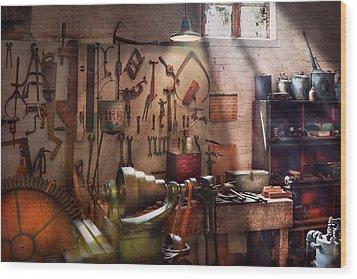 Steampunk - Machinist - The Inventors Workshop  Wood Print by Mike Savad