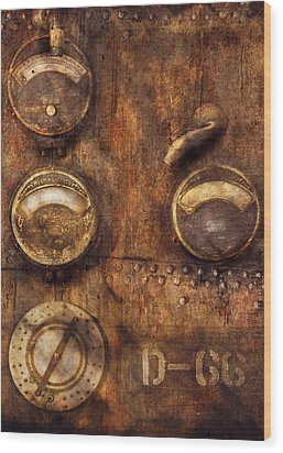 Steampunk - Meters D-66 Wood Print by Mike Savad