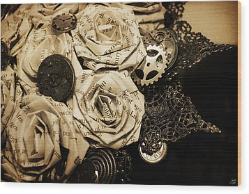 Steampunk Paper Roses Will Never Fade Wood Print by Lisa Knechtel