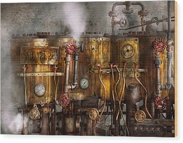 Steampunk - Plumbing - Distilation Apparatus  Wood Print by Mike Savad