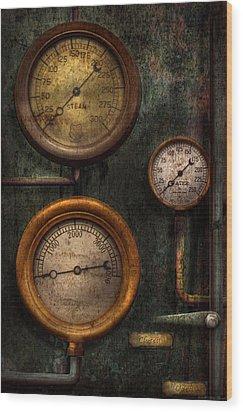 Steampunk - Plumbing - Gauging Success Wood Print by Mike Savad