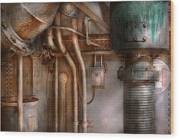 Steampunk - Plumbing - Industrial Abstract  Wood Print by Mike Savad