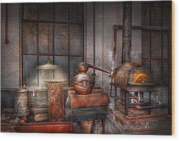 Steampunk - Private Distillery  Wood Print by Mike Savad