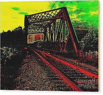 Steampunk Railroad Truss Bridge Wood Print by Peter Gumaer Ogden