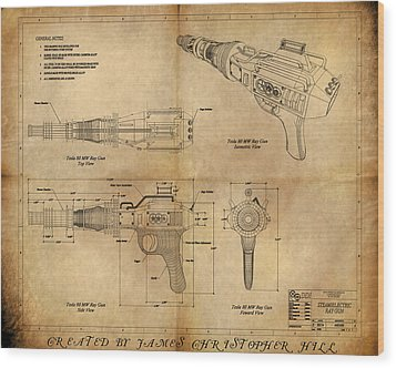 Wood Print featuring the painting Steampunk Raygun by James Christopher Hill
