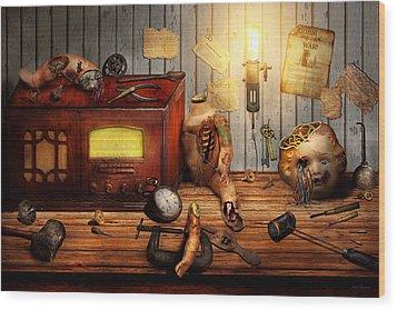 Steampunk - Repairing A Friendship Wood Print by Mike Savad