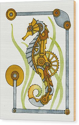 Steampunk Seahorse Wood Print by Nora Blansett