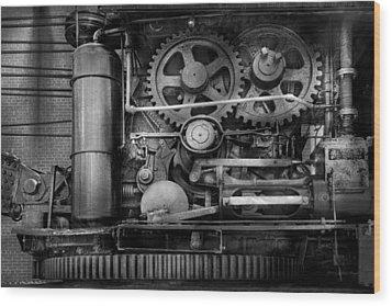 Steampunk - Serious Steel Wood Print by Mike Savad