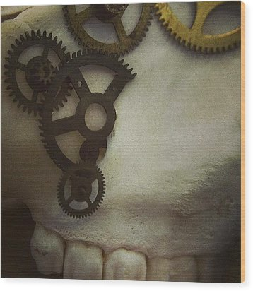 #steampunk #skull #clockworks #cogs Wood Print by Heidi Cutter