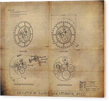 Steampunk Solar Disk Wood Print by James Christopher Hill