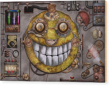 Steampunk - The Joy Of Technology Wood Print by Mike Savad