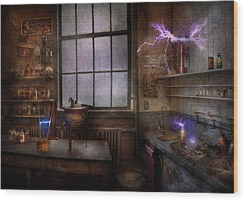 Steampunk - The Mad Scientist Wood Print by Mike Savad
